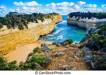 提防, 偉大,  australia3, 湖, 海洋,  ard, 峽谷, 路