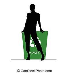 插圖, 塑料, 罐頭, 再循環, 女孩, 垃圾