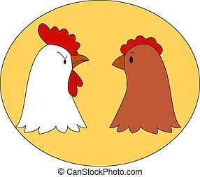 插圖, 家庭, 背景。, 矢量, 小雞, 白色