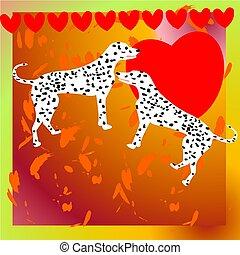 插圖, 由于, 二, dalmatian, 狗, 為, 情人節