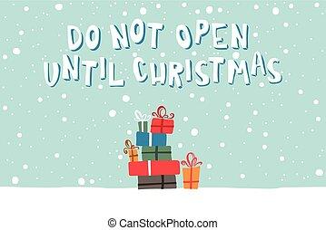 插圖, 由于, a, 圖片, ......的, 聖誕節 禮物, 上, a, 多雪, 背景。