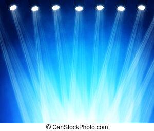 插圖, ......的, 藍色, 階段, 聚光燈