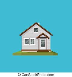 插圖, ......的, a, 卡通, 房子, 在, 在, 套間, polygonal, 風格