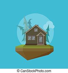 插圖, ......的, a, 卡通, 房子, 在, 套間, polygonal, 風格, 以及, 飛行, 島