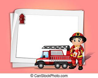 插圖, ......的, a, 消防隊員, 藏品, a, 滅火器, 在旁邊, 他的, 火卡車, 前面, a, 白色,...