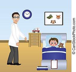 插圖, ......的, a, 醫生, 由于, 病人