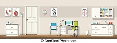 插圖, ......的, a, 醫生, 辦公室, 全景