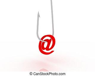 插圖, ......的, phishing, 欺騙, 在網上, 通過, 電子郵件