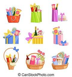 插圖, 聖誕節, 元素, 購物, 鮮艷, 袋子, 集合, 矢量, 週年紀念, 籃, 提出, 生日, 箱子, 紙, 設計, 禮物, 婚禮, 充分, 假期, 慶祝