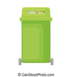 插圖, 背景。, 矢量, 綠色, 罐頭, 白色, 垃圾, wheels.