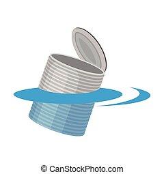 插圖, 背景。, 矢量, 罐頭, water., 白色, 漂浮