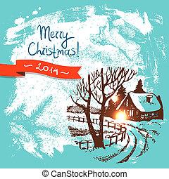 插圖, 背景, 聖誕節, 手, 畫