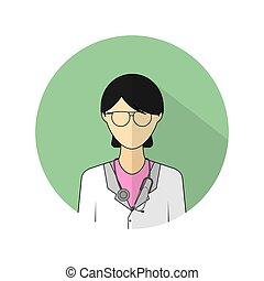 插圖, 醫生, 婦女, 矢量, 圖象, avatar