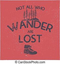 插圖, wanderlust, symbols., 襯衫, 遠足, 主題, 葡萄酒, 旅行, 分接, 靴子, 手, 印刷術, t-shirt., 矢量, 森林, 海報, 畫, t, 股票, graphics., design.