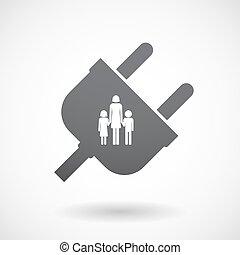 插头, 家庭, 父母, pictogram, 隔离, 单一, 女性, 男性