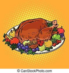 揚げられている, トルコ, 皿, 上に, 感謝祭, 日