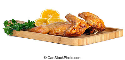 揚げられている, 白い背景, bord, 鶏, レモン, 木製である, パセリ