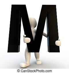 握住, 人们, m, 性格, 小, 黑色, 人类, 信件, 3d