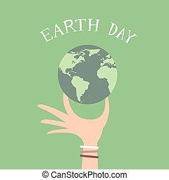 握住, 天, 地球全球, 人, 套間, 手