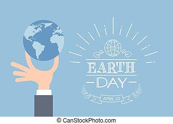 握住, 天, 地球, 事務, 全球, 人, 手