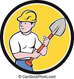 握住, 建设, 建设者, 铁锹, 卡通漫画, 工人