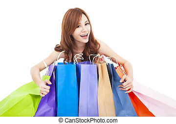 握住, 袋子, 美丽, 购物, 妇女, 年轻