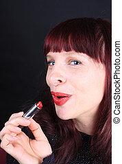 握住, redhead, 管子, lipstick
