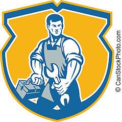 握住wrench, 技工, 扳手, 工具箱, 顶峰, retro
