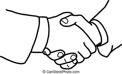 握手, いたずら書き, concept., 協力, イラスト, 手, ベクトル, 引かれる