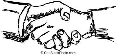 握手, いたずら書き, concept., 協力, スケッチ, イラスト, 手, ベクトル, ビジネスマン, ∥間に∥, 引かれる