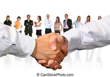 握手, そして, ビジネス チーム