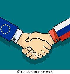 握手, の, 2人の人々