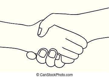 握手, アウトライン, 人々, 手, 2, 背景, 振動, 白, 図画
