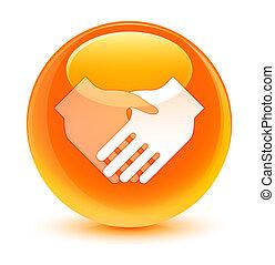 握手, ガラス状, ボタン, オレンジ, ラウンド, アイコン
