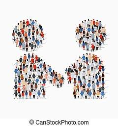 握手, グループ, 形態, 人々, 大きい, シンボル。