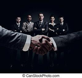 握手, グループ, 背景, ビジネス 人々