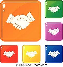 握手, セット, ビジネス アイコン, 色, ベクトル