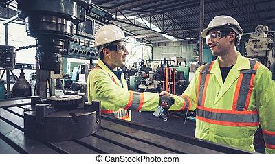 握手, チーム・メンバー, 労働者, 工場