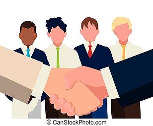 握手, チームワーク, ビジネスマン