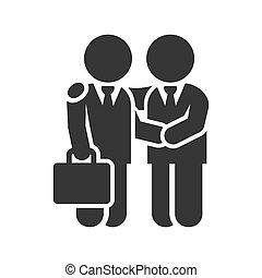 握手, ビジネス, バックグラウンド。, ベクトル, 白, アイコン, 人