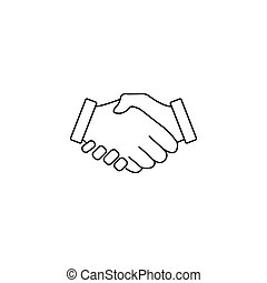 握手, ビジネス 取り引き, 合意, アイコン, 線