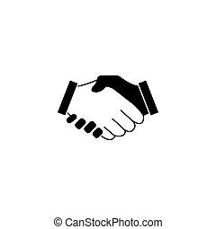 握手, ビジネス 取り引き, 固体, 合意, アイコン