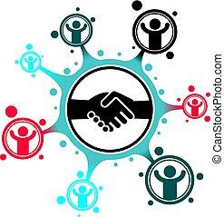 握手, ビジネス 取り引き, 成功した, シンボル, 隔離された, 創造的, バックグラウンド。, ベクトル, ロゴ, 印, 概念, 白, 独特, 印。, 特別