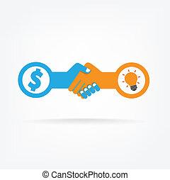 握手, ビジネス, 抽象的, 印, ベクトル, デザイン, template., 創造的, concept.