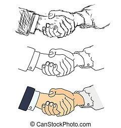 握手, ベクトル, -, イラスト