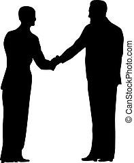 握手, ベクトル, シルエット