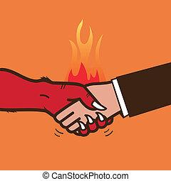 握手, ベクトル, devil., イラスト