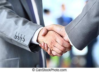 握手, 中に, オフィス