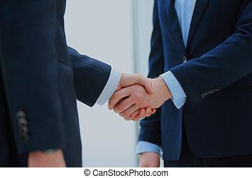 握手, 中に, オフィス。