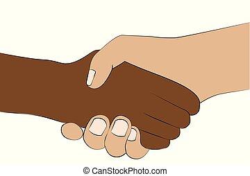 握手, 人々, 手, 別, 隔離された, 色, 2, 背景, 振動, 皮膚, 白